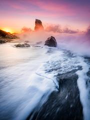 Brace for Impact (Timothy Gilbert) Tags: sea beach sunrise rocks cornwall wave wideangle panasonic whitsandbay ultrawide hdr shagrock downderry gx7 olympus918mmf4056