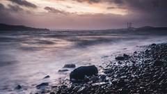 Stormy Sunset (Neil Hamilton Photography (Getty Contributor)) Tags: city longexposure bridge sunset sea storm beach water clouds canon landscape scotland rocks waves dundee pebbles tayside leefilters