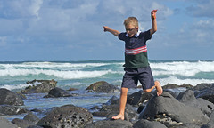 Freedom, fun and fresh air (judith511) Tags: boy beach rocks uniform surf child with days anything  rockpools saturdayschool fshoot shootingweek 31beginning
