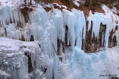 slow ascent... (820-Photography by James Anderson) Tags: canada alberta iceclimbing banffnationalpark johnstoncanyon