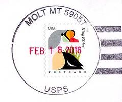Molt, Montana  59057 (Postmarks from Montana) Tags: montana molt postagestamp postmark 2016 february7
