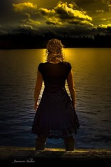 The Light Before The Storm (Self Portrait) (jeanmarie shelton) Tags: light portrait sky woman lake selfportrait black nature water lady clouds self reflections dark outdoors dock architechture boots fineart blackdress selfie jeanmarie jeanmariesphotography jeanmarieshelton