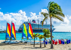 Castaway Cay Beach and Disney Dream (floridaplunge) Tags: ocean blue red sky beach water yellow clouds sailboat island sand paradise ship disney palmtrees sailboats bahamas disneycruise castawaycay disneycruiseline disneydream
