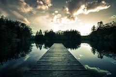 le ponton (lafargenicolas) Tags: travel bridge blue light sunset wild sky nature water clouds forest landscape photo photographie place lac reflet beau lafoto