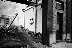 DR3-015-6 (David Swift Photography Thanks for 15 million view) Tags: streetart philadelphia 35mm olympusstylusepic doors streetphotography demolition warehouse northernliberties gentrification davidswiftphotography