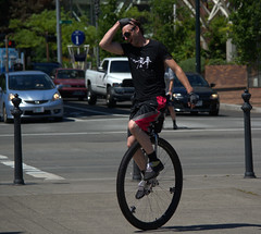 Big Tire Unicycle (swong95765) Tags: man guy sport mono cyclist exercise unique goggles unicycle rider