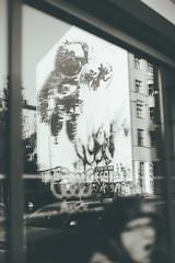 cosmonaut (Barbs--) Tags: blackandwhite streetart reflection berlin film analog reflections kreuzberg photography graffiti astronaut schwarz cosmonaut victorash weissberlinstreetstreet
