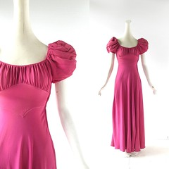 1930s cerise pink crepe gown (Small Earth Vintage) Tags: 1930s dress crepe gown 30s vintageclothing vintagefashion puffsleeves cerisepink smallearthvintage