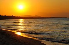 Lake Superior Sunset (Cragin Spring) Tags: sunset sky orange usa lake beach water rural landscape coast midwest unitedstates dusk michigan unitedstatesofamerica upperpeninsula lakesuperior michigansupperpeninsula