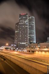 Tel Aviv Cloudy Night (barak.shacked) Tags: city nightphotography railroad urban cars train lights telaviv track traffic outdoor railway nightshoot nighttraffic nigtshoottelaviv