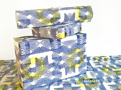 Blue geo (Kondor Vali) Tags: blue green art yellow wrapping paper gift roll printed