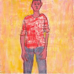 # 109 (18-04-2016) (h e r m a n) Tags: man male illustration drawing zwembad cardboard herman carton illustratie bock karton oosterhout tekening 10x10cm tegeltje 3651tekenevent