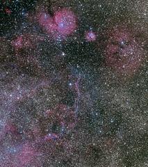 Vela Supernova Remnants, Gum 17, Collinder 197 & Gum 14 (Seabird NZ) Tags: newzealand canterbury nebula astrophotography stacking vela tracking equatorial filaments astrophoto hurunui deepsky snr puppis skywatcher waikari sigma120300mmf28 pyramidvalley supernovaremnants neq6 velasupernova gum17 nikond810a gum14 collinder197 richstarfield collinder203 ngc2671 collinder201 ngc2659