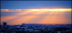 Cloudy sunset from my balcony (lhoteln) Tags: city light sunset ski paris france clouds de soleil ray cloudy coucher nuages ville rayons nuageux