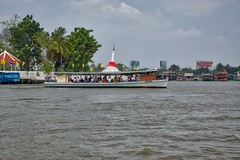 Tourist boat and Mon-style leaning Chedi at the northeast corner of Ko Kret, an island in the Chao Phraya river near Bangkok, Thailand (UweBKK (α 77 on )) Tags: trip water river thailand flow island boat asia tour bangkok sony style tourist ko mon southeast alpha dslr chao koh 77 leaning slt pak chedi kret phraya kokret kohkret pakkret