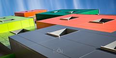 L'enfer du daltonien (CrOS Photographie) Tags: abstract colors architecture modern couleurs moderne cube immeuble fentres abstrait livin