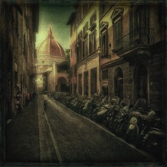from the series 'Streets of Florence' (odinvadim) Tags: morning travel italy church landscape spring artist textured iphoneart iphoneography iphoneonly snapseed mytravelgram instapickskyart painterlymobileart
