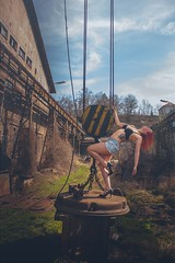 I came in like a wrecking balllllll :D (Pohlovka-Urbex) Tags: blue abandoned industry girl female ball steel redhead haha wrecking urbex urbexgirl