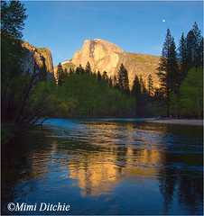 Half Dome With Reflections And A Moon (Mimi Ditchie) Tags: sunset moon reflections river yosemite halfdome mercedriver yosemite2016