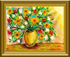 Gold & Blue Daisies in a Vase, Artwork by Dan Seitzinger - Framed - 4-29-16 (d.m.s. studios) Tags: art dan floral by cream shaving impressionism arrangement seitzinger