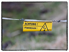 Achtung! Powerzaun!  Attention! Powerfence! (/Reality Scanner/) Tags: sea germany landscape deutschland outdoor natur olympus baltic 300mm reality documentation landschaft ostsee barth omd em1 dokumentation realitt