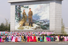 Preparing for the celebrations (synecto) Tags: dancing rehearsal celebration arirang kimilsung nampo dpkr