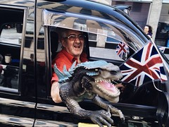 T-Rex Taxi (Rob Pearson-Wright) Tags: street uk colour london dinosaur candid taxi streetphotography cabbie trex iphone mobilephotography shotwithaniphone