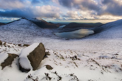 The Mournes in Winter (shylands) Tags: ireland sunset mountain snow landscape lough dusk hill dramatic northernireland hdr mournemountains countydown mournes silentvalley loughshannagh