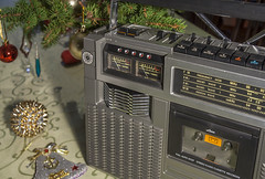 JVC-RC-727W Vintage Ghettoblaster Boombox 1977 (AudioClassic) Tags: christmas winter music vintage season nopeople stereo tape boombox recorder 1977 bauble cassette holydays ghettoblaster jvc sprucetreebranch audioclassic jvcrc727w