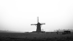 Windmill of Pendrecht est. 1731 (DC P) Tags: blackandwhite bw white black monument nature netherlands monochrome beautiful fog vintage landscape prime mono blackwhite rotterdam noir view foggy f 17 28 mm manual monumental peleng belomo bej