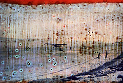 30-221 (ndpa / s. lundeen, archivist) Tags: ocean winter sea people snow color fall film ice water 30 alaska plane 35mm airplane coast town frozen locals village native horizon nick spots coastal local 1970s damaged 1972 distressed unidentified alaskan dewolf nativealaskan discolored heatdamage ontheice bushplane damagednegative nickdewolf photographbynickdewolf coastalvillage reel30
