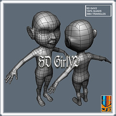 SDGirlV2 (Base Meshes) (hypesol) Tags: game girl mesh character low manga super poly base deformed