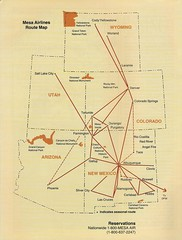 Mesa Airlines route map, May/June 1988 (airbus777) Tags: den 1988 albuquerque denver diagram airline abq network tbt mesaairlines routemap