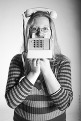 Ring Ring (Austyn Terrio) Tags: portrait blackandwhite college monochrome photography glasses natural telephone whitebackground gradient subject questionable bulblighting astphotography