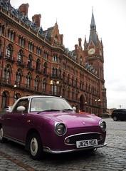 Classic clash (Caroline Oades) Tags: england london classic clock car hotel purple clash vehicle stpancras renaissance brickwork nissanfigaro cadburypurple