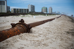 Danger beach (k_mich_lar) Tags: industry beach danger seaside rust texas pipe shore southpadreisland padreisland