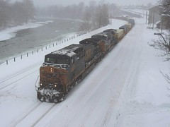 CSX 349 and 3186 (Trains & Trails) Tags: road street railroad cold train diesel pennsylvania snowstorm january engine container covered transportation snowing ge blizzard noreaster generalelectric csx locmotive fayettecounty connellsville 349 intermodal ac44cw 3186 darkfuture yn3 widecab q13822