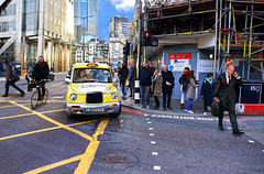 Heading Towards Liverpool Street Station (Anatoleya) Tags: street city london cyclist cab taxi pedestrians commuting hdr commuters bishopsgate anatoleya