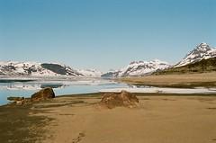 On the Beach (IggyRox) Tags: morning camp lake snow mountains film beach nature water beauty norway 35mm norge sand europe view scandinavia jotunheimen vang oppland bygdin