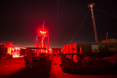 DSC_0639 (Axisworks) Tags: longexposure light red lighthouse nevada burningman blackrockcity blackhole radar lightbeams jollyroger blackrockdesert 2015 blackholebar shitwagon gatestaff