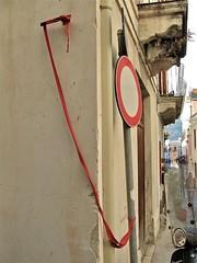 The red ribbon (vittorio vida) Tags: street red sign ribbon eolie lipari
