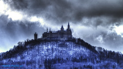 Hohenzollern Castle near to Hechingen (malioli) Tags: winter sky snow tower castle clouds canon germany landscape deutschland europe fort citadel palace chateau stronghold fortress mystic hohenzollern