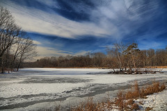 Snow and Ice on Ann Lee Pond (hbickel) Tags: trees winter snow ice clouds canon landscape pond pad photoaday hdr highdynamicrange annleepond canont6i