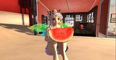 i have a watermelon (KutsaiChan) Tags: secondlife anime fairy watermelon festival outdoor people