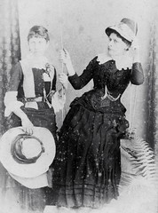 Victorian girls and a swing (vintage ladies) Tags: portrait people blackandwhite woman hat lady female sisters vintage studio dress victorian hats swing corset cdv victorianladies victorianlady vintagelady cabinetportrait eoshe victorianwomen victorianwoman vintagefemale victoriancorset victoriansisters