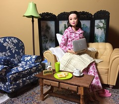 2. After her Nap (Foxy Belle) Tags: scale night computer asian living chair doll leah laptop room barbie style move made ill 1d flannel glam medicine armchair sick pajamas diorama dollhouse 2015 playscale