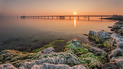 Sunrise at Lake Constance (pixadeleon) Tags: longexposure lake water sunrise landscape moss stones jetty bodensee lakeconstance altnau challengegamewinner