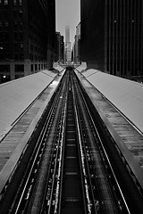 """L"" to the Trump (another_scotsman) Tags: blackandwhite chicago monochrome cityscape loop l trump"