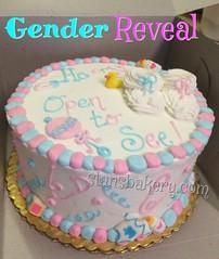 Gender reveal cake (stansbakery.com) Tags: babyshower babybooties genderrevealcake blueorpinkwhatdoyouthink