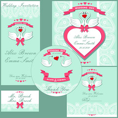Wedding design  template with Paisley border,cartoon swans (tungprod) Tags: thanksgiving pink blue red white holiday flower cute classic love fashion set composition vintage grey heart lace feminine background label border cartoon marriage valentine petal event swans bow memory romantic rest ribbon abstraction cdcover tradition elegant decor paisley eastern tender invitations proverb weddinginvitation retrostyle vectorillustration stylization boardingcard designtemplate orientalornament
